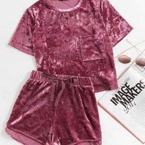 SHEIN Crushed Velvet Pink Pajama PJ Set